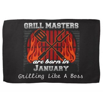 Grill Masters Are Born In January Add A Slogan Hand Towel