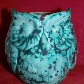 Handpainted Spring Meadow Crystal Glazed Owl Pencil Holder or Planter
