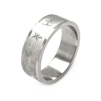 Mens Stainless Steel Jewelry Stars w/ Abstract Design Band Ring Width: 8Mm