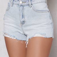 PacSun Bella Blue Ripped High Rise Cutoff Denim Shorts at PacSun.com