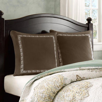 Harbor House Miramar  Cotton Solid Euro Sham w/ Embroidery, Brown