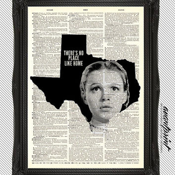 Theres No Place Like Home Texas AvantPrint Original Print on Unframed Upcycled Bookpage
