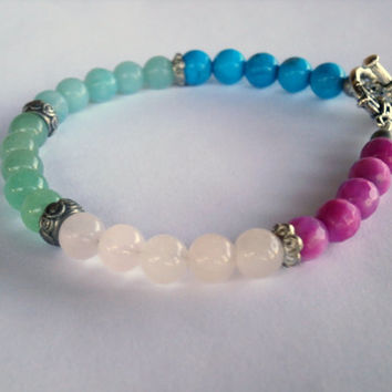 Ombre Bracelet. Multi Gemstone Bracelet. Pink and Blue Gemstones Jewelry. Bright and Colorful Jewelry, Dainty Stacking Bracelets