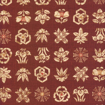 Family Crests Japanese Burnt Red Printed Cotton Quilting Fabric KW-3311-2B