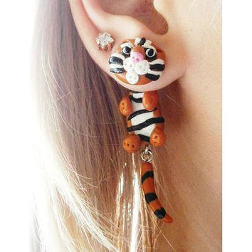 Pair of Real Custom Gauges Plugs 0g, 00g, 7/16, 1/2, 9/16, 5/8, 3/4, 7/8, 1 inch earrings animal Bengal tiger , Polymerclay, handmade