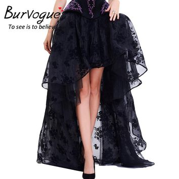 Burvogue Long Maxi Steampunk Elastic Skirts Women Black Fluffy Tulle Skirt Ruffled Chiffon Lace Midi Gothic Corset Skirt  2017