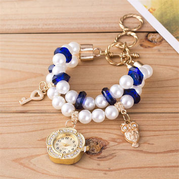Womens Girls Old Gold Pearl Casual Roee Pearl Band Strap Bracelet Watch Best Gift Watches-460