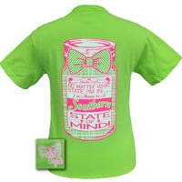 Girlie Girl Originals Preppy Southern State of Mind Mason Jar Bow Comfort Colors Lime Bright T Shirt