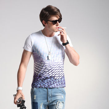 Men's Fashion Short Sleeve Korean Summer Slim Stylish Tee Fashion Print Men's T-shirts = 6450093379