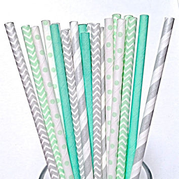 Silver and Mint Paper Straws- 50 Striped Solid & Polka Dot Metallic Wedding, Minty Green Chevron Birthday Party Straw