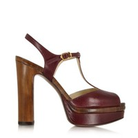 L'Autre Chose Designer Shoes Bordeaux Leather Platform Sandal