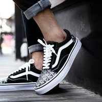 Best Deal Online Vans Old Skool X Goyard Customs Black White Low Top Men Flats Shoes Canvas Sneakers Women Sport Shoes
