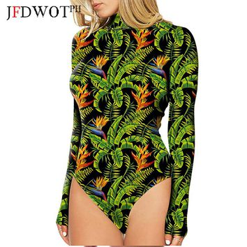 2017 Floral Geometric Print Turtleneck Bodycon Jumpsuits Women Long Sleeve Sexy Rose Elegant Mesh Slim Bodysuits body feminino