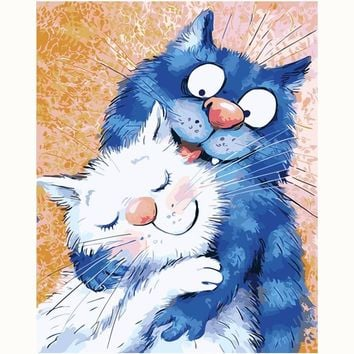 Lovely blue Cat Picture Painting Cartoon DIY Painting By Numbers Modern Kids Wall Art Acrylic Picture Hand painted Children Gift