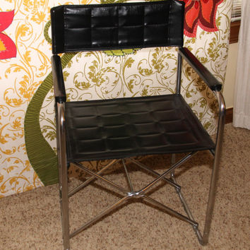Vintage Mid Century Modern Minimalist Uchida FOLDING Chair in Chrome with Black Vinyl Seat and Back