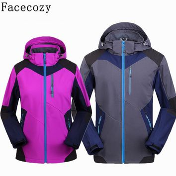 Facecozy Women&Men Winter Outdoor Hooded Patchwork Softshell Hiking&Ski Jacket Autumn Windproof Inner Fleece Camping Clothes