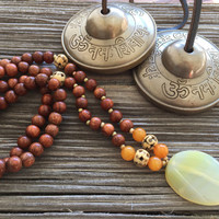 Earthy Jewelry, Bohemian Necklace, Boho Jewelry, Ethnic Jewelry, Hippie Necklace, Yellow Necklace, Yoga Jewelry, Mala Necklace, Hipster