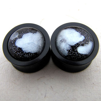"Double Flared Plugs - Cloudy Night - Ear Plugs - Black Acrylic Plugs -  0g 00g 1/2"" Half Inch"