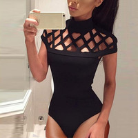 Sexy bodysuits women  Choker High Neck Bodycon sexyd Short Sleeves  Rompers Bodysuit Ladies combinaison femmes #63 GS