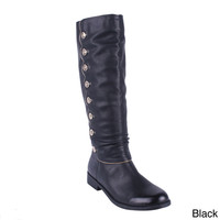 DBDK Women's 'Ketisa-1' Knee-high Button Shaft Riding Boots | Overstock.com