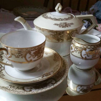 NORITAKE 1930s Tea for one /china teapot/china trio/ creamer and sugar bowl/delicate china tea set /basket of flowers/ ships worldwide