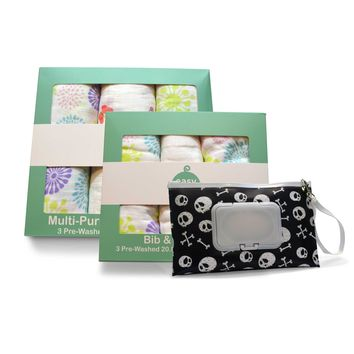 Easy Baby Flowers, Butterflies and Skulls Bib Burp Cloths Combo, Swaddles and Wipes Case Set