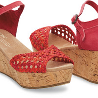 RASPBERRY SATIN WOVEN WOMEN'S PLATFORM WEDGES