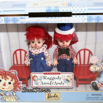 Licensed cool 1999 Classic Raggedy Ann & Andy Barbie Doll set Tommy & Kelly Red Chairs Mattel