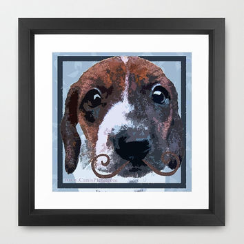 "Mustache Dachshund (Dog, Pet) Pop Art Print - 8"" x 8"" - Pop Art Home/Wall Decor - ""Dachstachioed"""