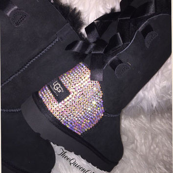 Crystal AB encrusted Bailey Bow Uggs -