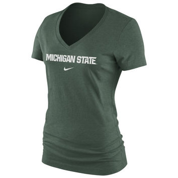 Michigan State Spartans Nike Women's Arch Cotton V-Neck T-Shirt - Green