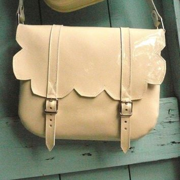 $105.00 Cream Patent Leather Scallop Satchel by frenchenglish