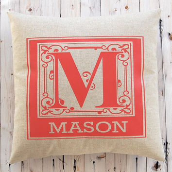 Monogram Pillow, Wedding Pillow, Personalized Gift, Anniversary Gift, Custom Pillow, Throw Pillow Cover, Wedding Gift, Nursery Decor