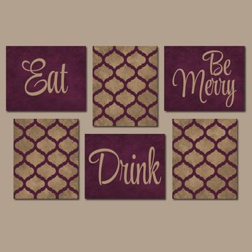 EAT DRINK be Merry Wall Art, Kitchen CANVAS or Prints, Kitchen Decor, Dining Room Pictures, Trellis Pattern, Home Decor Set of 6 Wall Decor