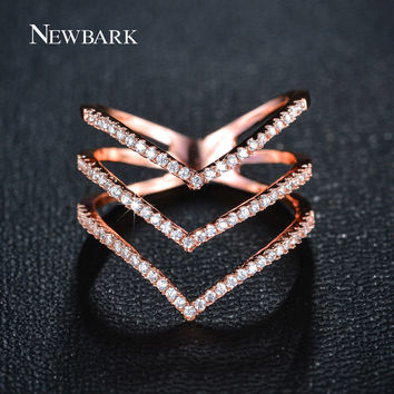 NEWBARK Brand Big Women Rings Micro CZ Diamond Three V Shape Ring Rose Gold Plated And Silver Color Fashion Jewelry for Women