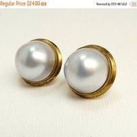 Gold Plated Sterling Silver Gray Mabe Pearl Pierced Earrings