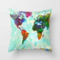 Abstract World Map Throw Pillow by Gary Grayson