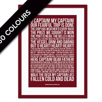 O Captain! My Captain! by Walt Whitman - History Poster - Poetry Poster - Motivational Inspirational Typography Poster - Abraham Lincoln