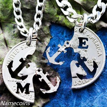 Anchor Best Friends Initial Necklaces