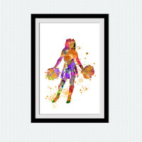 Cheerleader watercolor poster Cheerleader colorful print Sport wall decor Home decoration Girls room wall art wall hanging decor W365