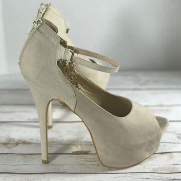 Liliana Beige  chain heel platform with ankle strap Peep Toe Club Stripper 10
