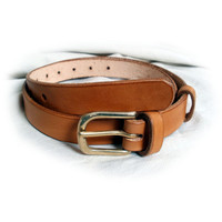 "Womens leather belt, black, brown or tan, 1"" wide, solid brass buckle, suitable for men, made to order"