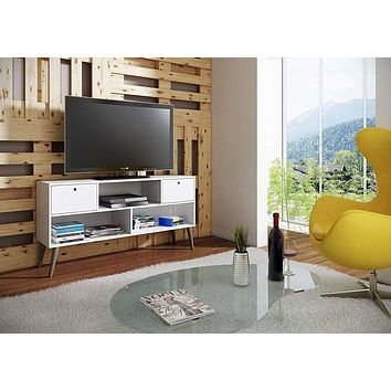 Modern Uppsala TV Stand with 3- Shelves and 2- Drawers in White