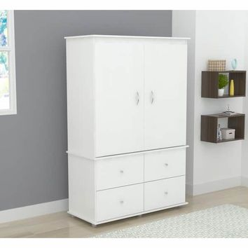 Inval Larcinia White Audio Video Armoire Cabinet | Overstock.com Shopping - The Best Deals on Armoires