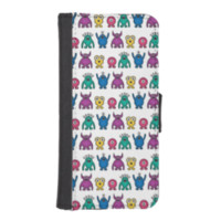 Kawaii Rainbow Alien Monsters Pattern Phone Wallet