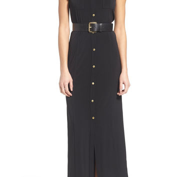 Belted Sleeveless Maxi Shirtdress