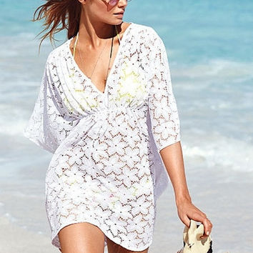 Free Size Chic Lady Refined V-Neck Lace Floral Seaside Swimwear Cover Up Beach Bikinis = 5657704449
