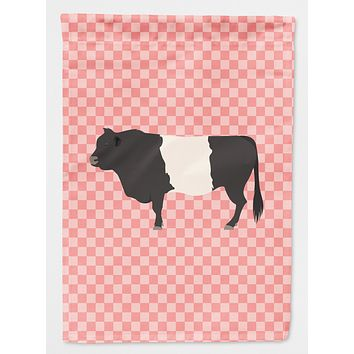 Belted Galloway Cow Pink Check Flag Canvas House Size BB7831CHF