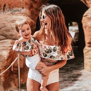 Miyouj Mother And Daughter One Piece Swimsuit Bandeau Leaf Family Matching Bathing Suit Off Shoulder Swimwear Mom Baby Biquinis