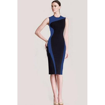 Blue and Black Matchwork Slimming Pencil Midi Dress